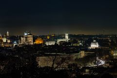 View of Rome, of the main monuments at night. stock photography