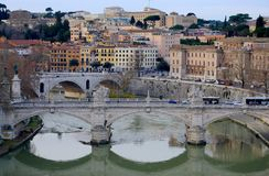 Ponte Vittorio Emanuele II bridge and Ponte Principe Amedeo Savoia Aosta bridge. Rome, Italy. View from Sant`Angelo castle. Ponte Vittorio Emanuele II bridge and Royalty Free Stock Photography