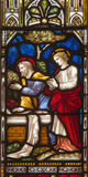ROME, ITALY: The Visit of Peter and John to the Empty Tomb  on the stained glass of All Saints' Anglican Church Stock Photos