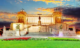 Rome, Italy. Vittoriano with gigantic equestrian statue of King Royalty Free Stock Photo