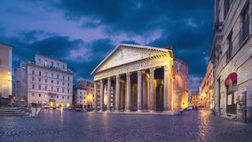 Rome, Italy. Wide angle view of Pantheon at dusk. Static image with animated sky stock video