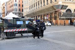 ROME - JAN 3: Rome police control the street in Rome the 3 January 2019, Italy. Rome is one of the most populated. Metropolitanareas in Europe stock photography