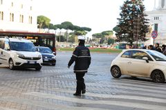 ROME - JAN 3: Rome police control the street in Rome the 3 January 2019, Italy. Rome is one of the most populated. Metropolitanareas in Europe stock photo