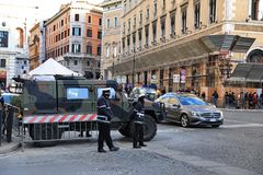 ROME - JAN 3: Rome police control the street in Rome the 3 January 2019, Italy. Rome is one of the most populated. Metropolitanareas in Europe royalty free stock images