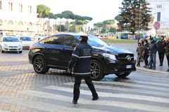 ROME - JAN 3: Rome police control the street in Rome the 3 January 2019, Italy. Rome is one of the most populated. Metropolitanareas in Europe stock image