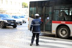 ROME - JAN 3: Rome police control the street in Rome the 3 January 2019, Italy. Rome is one of the most populated. Metropolitanareas in Europe royalty free stock photos
