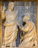 Rome - The Jesus consigning the keys to Peter  marble sculpture in Basilica di Sant Agostino by G. Battista Cassignola (1569). Royalty Free Stock Images