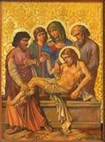 Rome - jordfästningen av Jesus målarfärg i armenierkyrka av vår dam Of The Spasm Arkivfoto