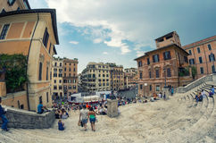 ROME - JUNE 14, 2014: Tourists in Piazza di Spagna. The city att Royalty Free Stock Photography