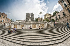 ROME - JUNE 14, 2014: Tourists in Piazza di Spagna. The city att Royalty Free Stock Images