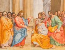 Rome - la conversion du freso de St Paul par G B Ricci de 16 cent en Di Santa Maria de Chiesa d'église dans Transpontina Photos stock