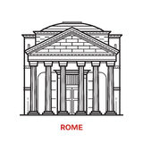 Rome Landmark Vector Illustration. Travel Rome landmark icon. Parthenon is one of the famous architectural tourist attractions in capital of Italy. Thin line Stock Images