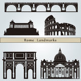 Rome landmarks and monuments. Isolated on blue background in editable vector file Stock Photos