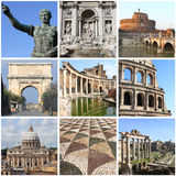 Rome landmarkscollage Arkivbild