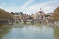 Rome landscape. View of St. Peter's Basilica Vatican City across the Tiber in Rome, Italy Royalty Free Stock Images