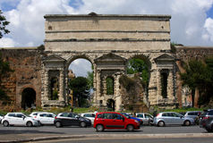 Rome is a large gate. Two large Roman arched gate, the Emperor Claudius royalty free stock images