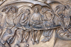 Rome - Last supper of Christ bronze relief Stock Photo