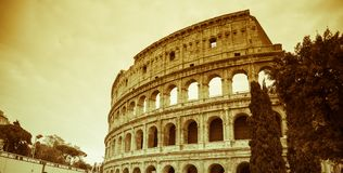Rome, Lazio, Italië, December 2018: Colosseum of Coliseum, ook als Flavian Amphitheatre wordt bekend, zijn een ovale amphitheatre royalty-vrije stock afbeeldingen