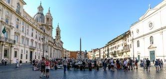Rome Lazio, Italien Juli 25, 2017: Överblick av den berömda piazza Fotografering för Bildbyråer