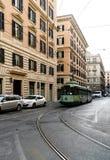 Rome Lazio, Italien Juli 20, 2017 Spårvagn som cirkulerar vid dess stänger Arkivfoton