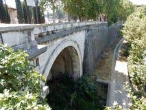 Rome - Cloaca Maxima from the Palatine Bridge. Rome, Lazio, Italy - July 18, 2017: Cloaca Maxima and Lungotevere Aventino seen from Palatine Bridge Stock Photos
