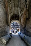Rome, Lazio, Italy. July 25, 2017: Interior views of the Roman C. Oliseum with many people visiting the interior Stock Image