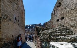 Rome, Lazio, Italy. July 25, 2017: Interior views of the Roman C. Oliseum with many people visiting the interior Royalty Free Stock Photo