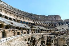 Rome, Lazio, Italy. July 25, 2017: Interior views of the Roman C. Oliseum with many people visiting the interior Stock Images