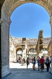 Rome, Lazio, Italy. July 25, 2017: Interior views of the Roman C. Oliseum with many people visiting the interior Stock Photo