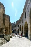 Rome, Lazio, Italy. July 25, 2017: Interior views of the Roman C. Oliseum with many people visiting the interior Royalty Free Stock Photography
