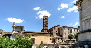 Rome, Lazio, Italy. July 25, 2017: Main facade of the church cal. Led `Basilica of Santa Francesca Romana` located at the entrance of the Roman Forum Stock Photo