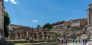 Rome, Lazio, Italy. July 25, 2017: Panoramic view of the ruins o. F the forum of the time of the Roman Empire, with tourists visiting it Royalty Free Stock Photos