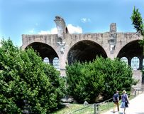 Rome, Lazio, Italy. July 25, 2017: Partial view of the ruins Bas. Ilica of Majencio and Constantine located in the ruins of the forum of the time of the Roman Royalty Free Stock Images