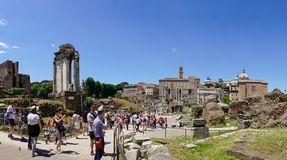Rome, Lazio, Italy. July 25, 2017: Partial view of the ruins of. The forum of the time of the Roman Empire, with tourists visiting it Stock Image