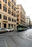 Rome, Lazio, Italy. July 20, 2017. Tram circulating by its rails Stock Photos