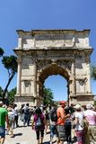 Rome, Lazio, Italy. July 25, 2017: View of the Arch of Constanti. Ne in the Colosseum Square Royalty Free Stock Images