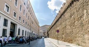 Rome, Lazio, Italy. May 25, 2017: City walls of Vatican City wit