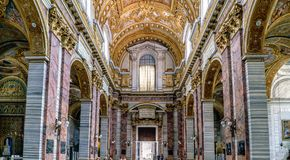 Rome, Lazio, Italy. May 22, 2017: Main nave and entrance of the
