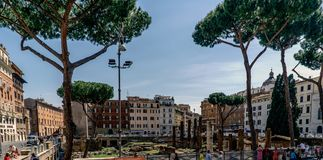 Rome, Lazio, Italy. May 22, 2017: View of the Roman ruins discov Royalty Free Stock Image