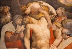 Rome - le détail du dépôt du fresque croisé dans l'Anima de vallon de Santa Maria d'église par Francesco Salviati Image stock