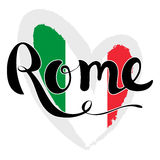 Rome lettering. Hand written Rome. Flag of Italy in the form of Royalty Free Stock Image