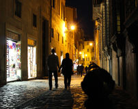 Rome love. At night on a street in Rome Royalty Free Stock Photography