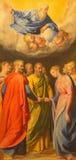 Rome - målarfärgen av förbindelsen od St Joseph och jungfruliga Mary av Giuseppe Valeriano (1526 - 1596) i kyrkliga Chiesa Nuova Fotografering för Bildbyråer