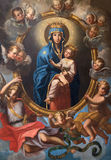 Rome - Madonna among the angels in side chapel of church Chiesa San Marcello al Corso by Agostino Masucci (1727). Stock Images