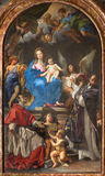 Rome -  Madonna Enthroned with SS Charles Borromeo and Ignatius by Carlo Maratta 1680  in church Chiesa Nuova Royalty Free Stock Images