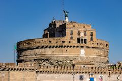 Rome, the majestic Castel Sant`Angelo. Rome, Castel Sant`Angelo seen from the other side of the Tiber. 09/09/2018 royalty free stock photo