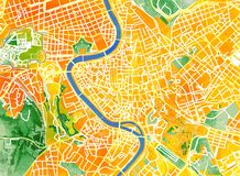 Rome map, drawn by hand, brush, roads and streets, Italy Royalty Free Stock Photo