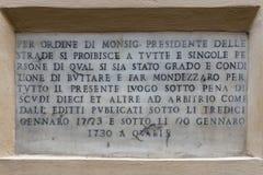 Rome marble inscription edict order Stock Photo