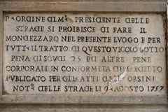 Rome marble inscription edict order 1757 Royalty Free Stock Image