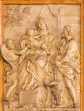 Rome - The marble relief of  Flight of Holy Family into Egypt in church Chiesa di Santa Maria della Vittoria. ROME, ITALY - MARCH 24, 2015: The marble relief of Royalty Free Stock Images
